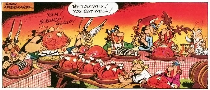 Obelix Eating Wild Boar